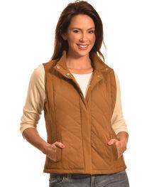 Jane Ashley Women's Faux Suede Quilted Vest, , hi-res