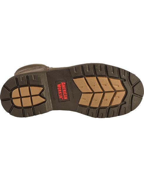 American Worker® Men's Steel Toe Work Boots, Dark Brown, hi-res
