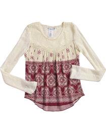 Shyanne Girl's Floral Tile Printed Long Sleeve Shirt, , hi-res