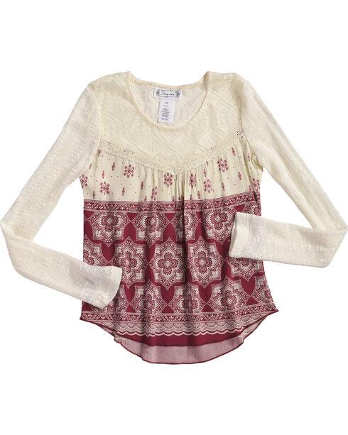 Shyanne Girl's Floral Tile Printed Long Sleeve Shirt, Ivory, hi-res