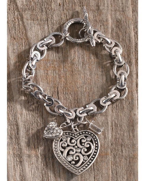 Shyanne Women's Heart Charm Link Bracelet, Silver, hi-res