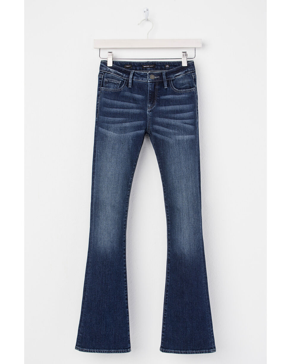 Miss Me Girls' Butterfly Effect Boot Cut Jeans, Indigo, hi-res