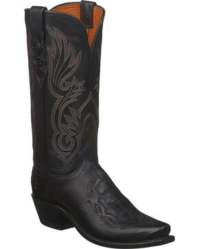 Lucchese Women's Black Beatrice Caiman Inlay Western Boots - Square Toe , Black, hi-res