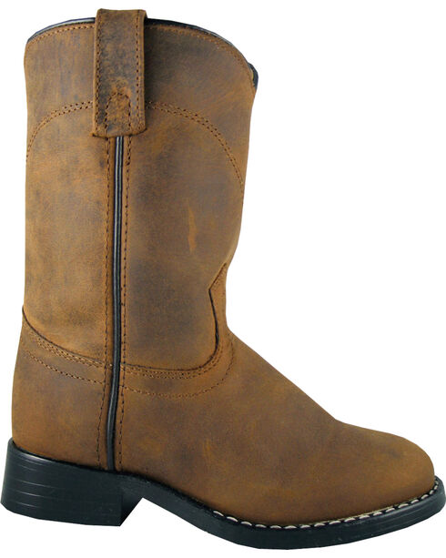 Smoky Mountain Boys' Roper Western Boots - Round Toe, Brown, hi-res
