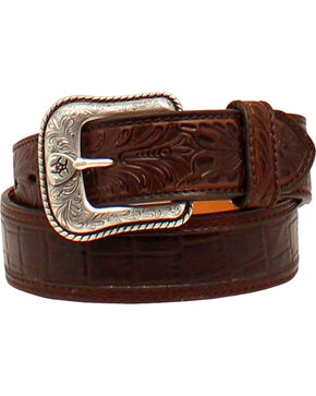 Ariat Tooled Belt w/Floral Ariat Buckle, Brown, hi-res