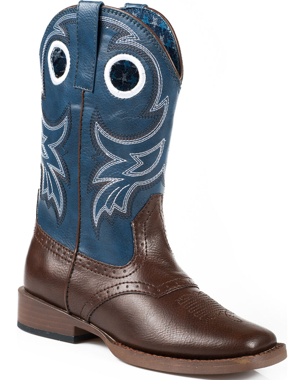 Roper Boys' Blue Western Boots, Brown, hi-res