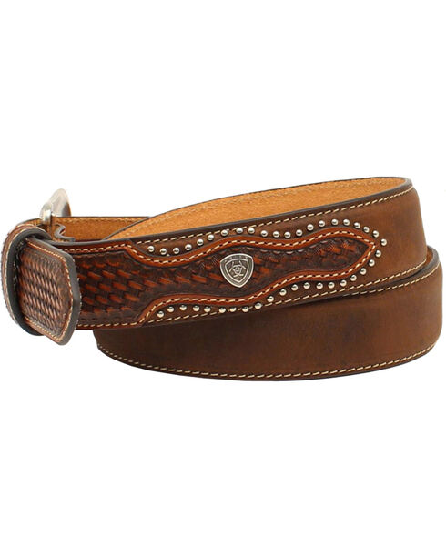 Ariat Men's Basketweave Embellished Leather Belt, Aged Bark, hi-res