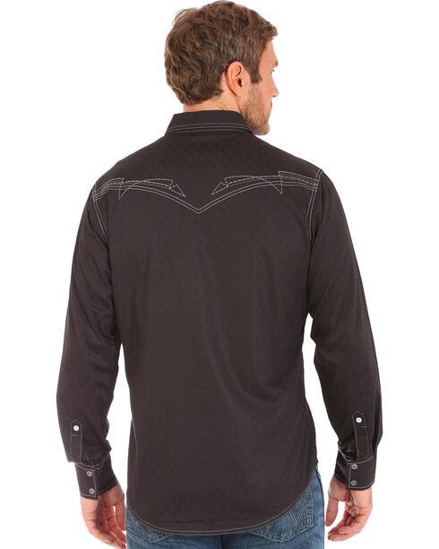 Wrangler Rock 47 Men's Black Embroidered Stitch Long Sleeve Snap Shirt - Big and Tall, Black, hi-res