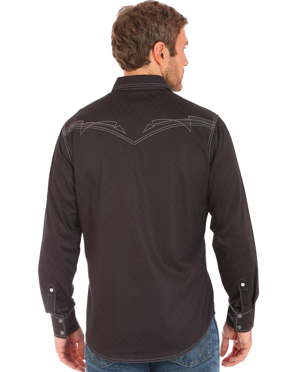 Wrangler Rock 47 Men's Black Embroidered Stitch Long Sleeve Snap Shirt - Big and Tall, , hi-res