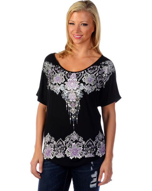 Liberty Wear Women's Floral Rhinestone Studded Top, Black, hi-res