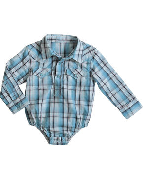 Wrangler Infant Boys' Turquoise Snap Placket Western Onesie , Turquoise, hi-res