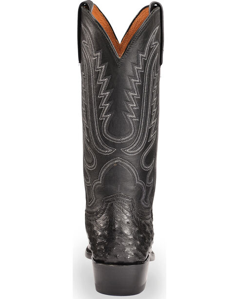Lucchese Men's Handmade Luke Black Full Quill Ostrich Western Boots - Square Toe, Black, hi-res