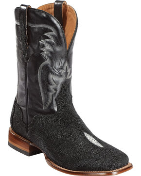 El Dorado Men's Stingray Stockman Boots - Square Toe, Black, hi-res
