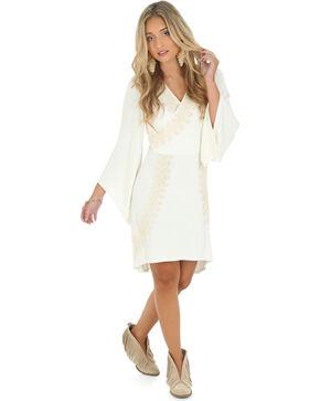 Wrangler Rock 47 Women's Flutter Sleeve Faux Wrap Dress, Vanilla, hi-res