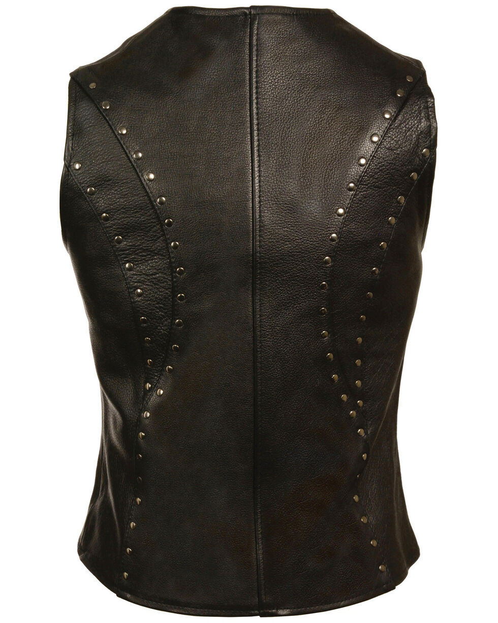 Milwaukee Leather Women's Studded Zip Front Vest - 3X, Black, hi-res