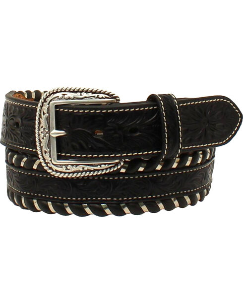 Ariat Men's Floral Embossed Rope Trim Belt  , Black, hi-res