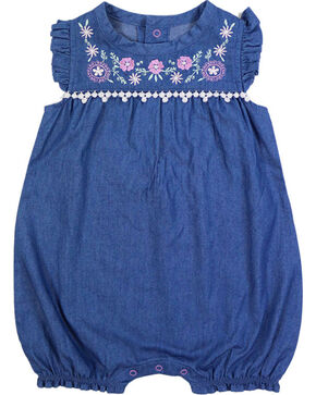 Shyanne Infant Girl's Embroidered Denim Romper Onesie, Blue, hi-res