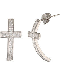Montana Silversmiths Sparkling Curled Cross Earrings, , hi-res