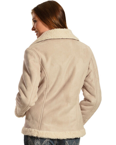 Red Ranch Women's Short Faux Suede Sherpa Jacket, Tan, hi-res