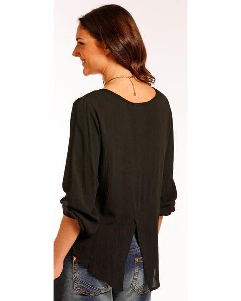 Panhandle Women's Black Lace Shoulder Top , Black, hi-res