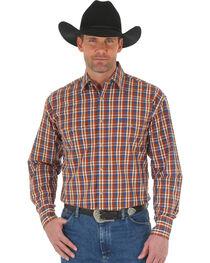 Wrangler George Strait Men's Chestnut/Blue Poplin Plaid Snap Shirt - Big & Tall, Tan, hi-res