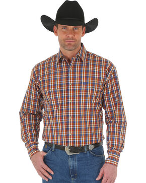 Wrangler George Strait Men's Chestnut/Blue Poplin Plaid Snap Shirt - Big & Tall, Tan, hi-res