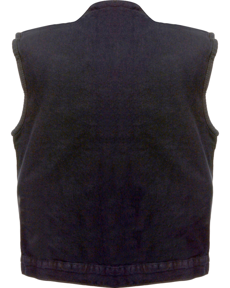 Milwaukee Leather Men's Concealed Snap Denim Club Vest, Black, hi-res