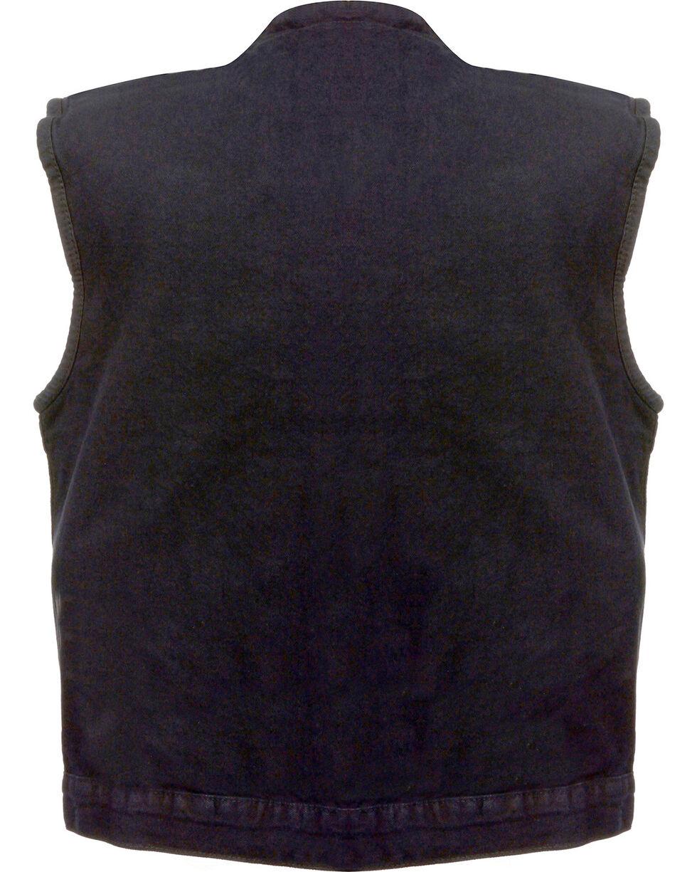 Milwaukee Leather Men's Concealed Snap Denim Club Style Vest - 3X, , hi-res