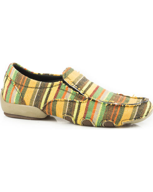 Roper Women's Green Liza Tweed Fabric Driving Mocs , Multi, hi-res