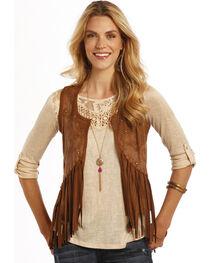 Rock and Roll Cowgirl Brown Miscrosuede Fringe Vest , , hi-res