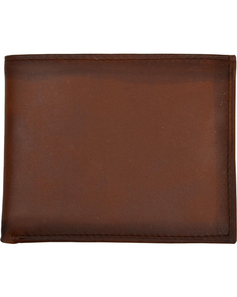 3D Men's Basic Brown with Burnished Edges Bi-Fold Wallet, Brown, hi-res