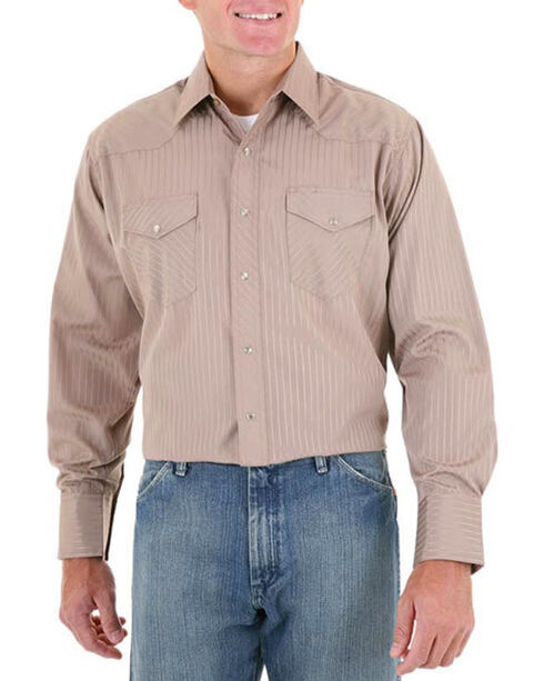Wrangler Men's Tan Sport Dobby Stripe Shirt , , hi-res