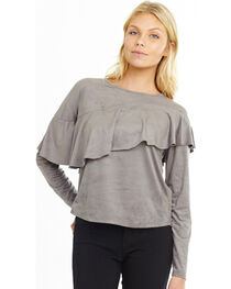 Mary & Mabel Women's Long Sleeve Suede Ruffle Top, , hi-res