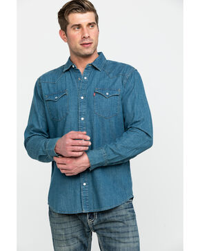 Levi's Men's Stonewash Denim Long Sleeve Western Shirt, Multi, hi-res