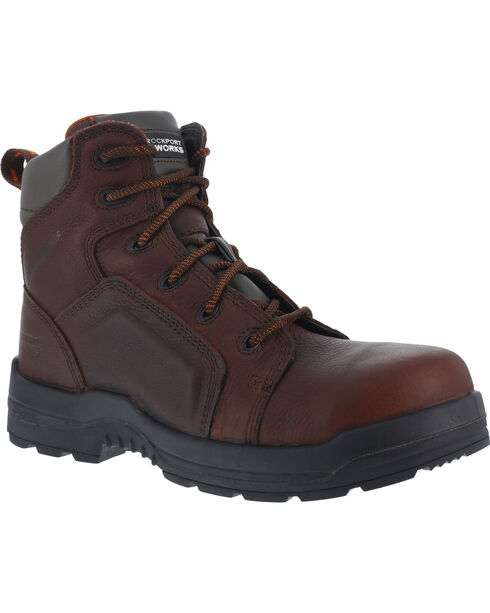 "Rockport Men's More Energy Brown 6"" Lace-Up Work Boots - Composition Toe, Brown, hi-res"