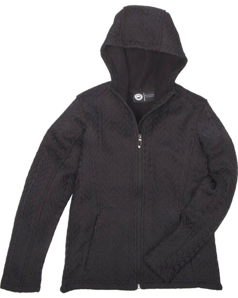Key Women's Black Cable Knit Jacket, Black, hi-res