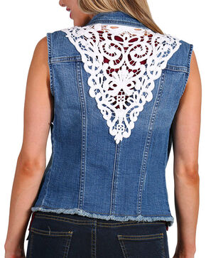 Petrol Women's Denim Lace Back Vest, Blue, hi-res