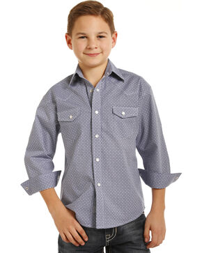 Rock & Roll Cowboy Boys' Geometric Print Long Sleeve Snap Shirt, Blue, hi-res