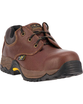McRae Men's Oxford Steel Toe Work Shoes, Brown, hi-res