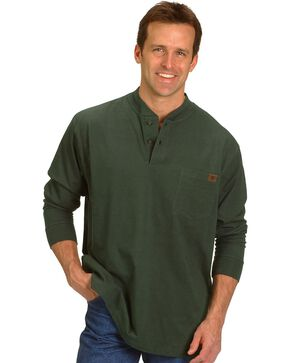 Riggs Workwear Men's Long Sleeve Henley T-Shirt, Forest Green, hi-res