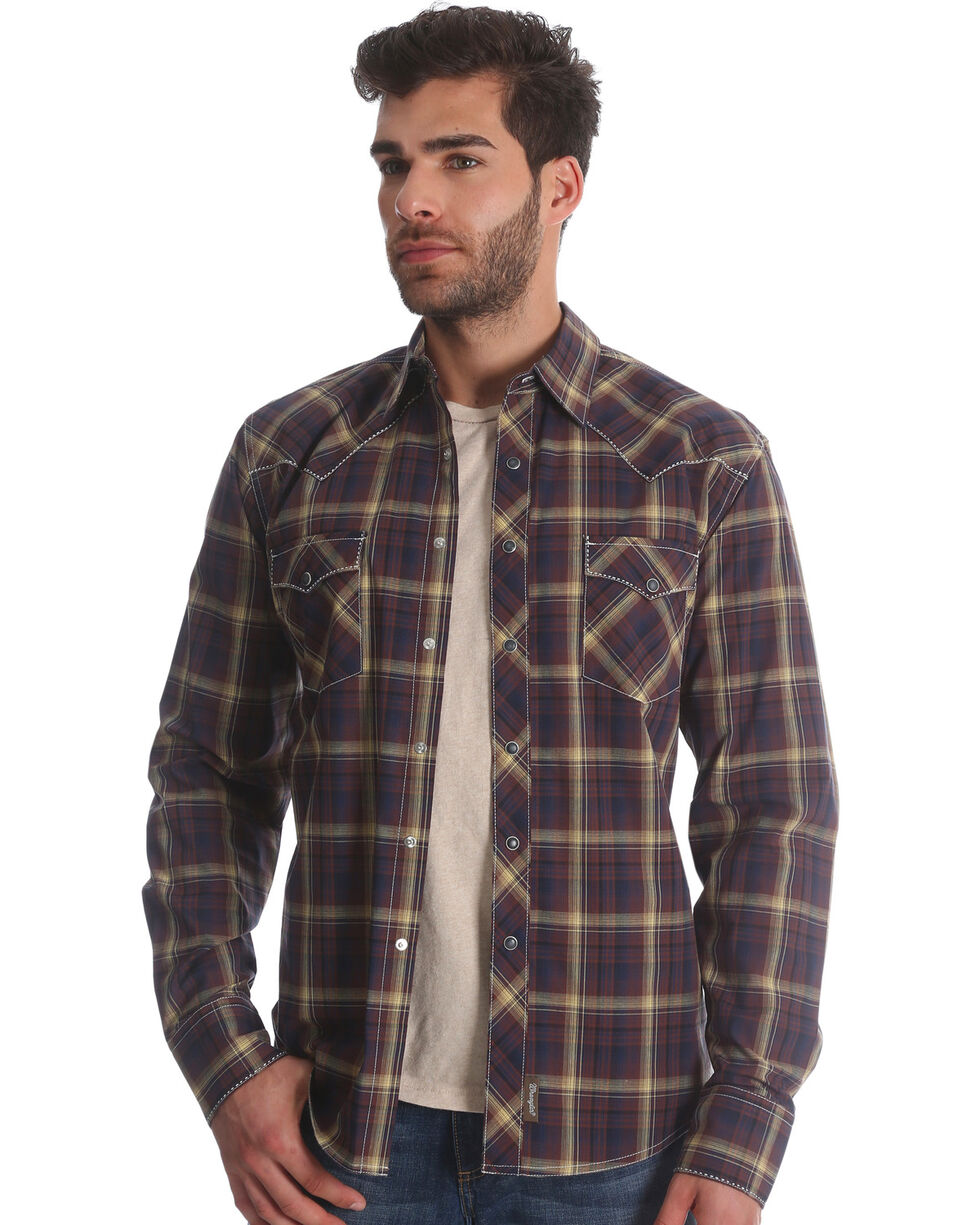Wrangler Retro Men's Brown/Black Plaid Long Sleeve Snap Shirt, Brown, hi-res