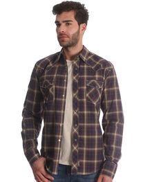 Wrangler Retro Men's Brown/Black Plaid Long Sleeve Snap Shirt - Tall, , hi-res