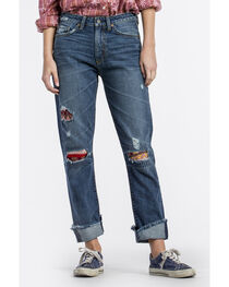 MM Vintage Women's Indigo Patched Crop Boyfriend Jeans - Straight Leg , , hi-res