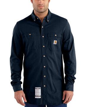 Carhartt Men's Navy Flame-Resistant Force Cotton Hybrid Shirt , Navy, hi-res