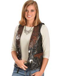 Kobler Floral Tooled Leather Vest, , hi-res