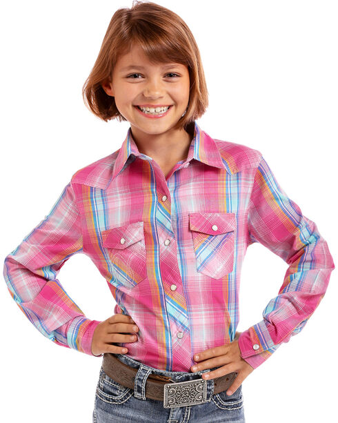 Panhandle Girls' Woven Plaid Long Sleeve Snap Shirt, Red, hi-res
