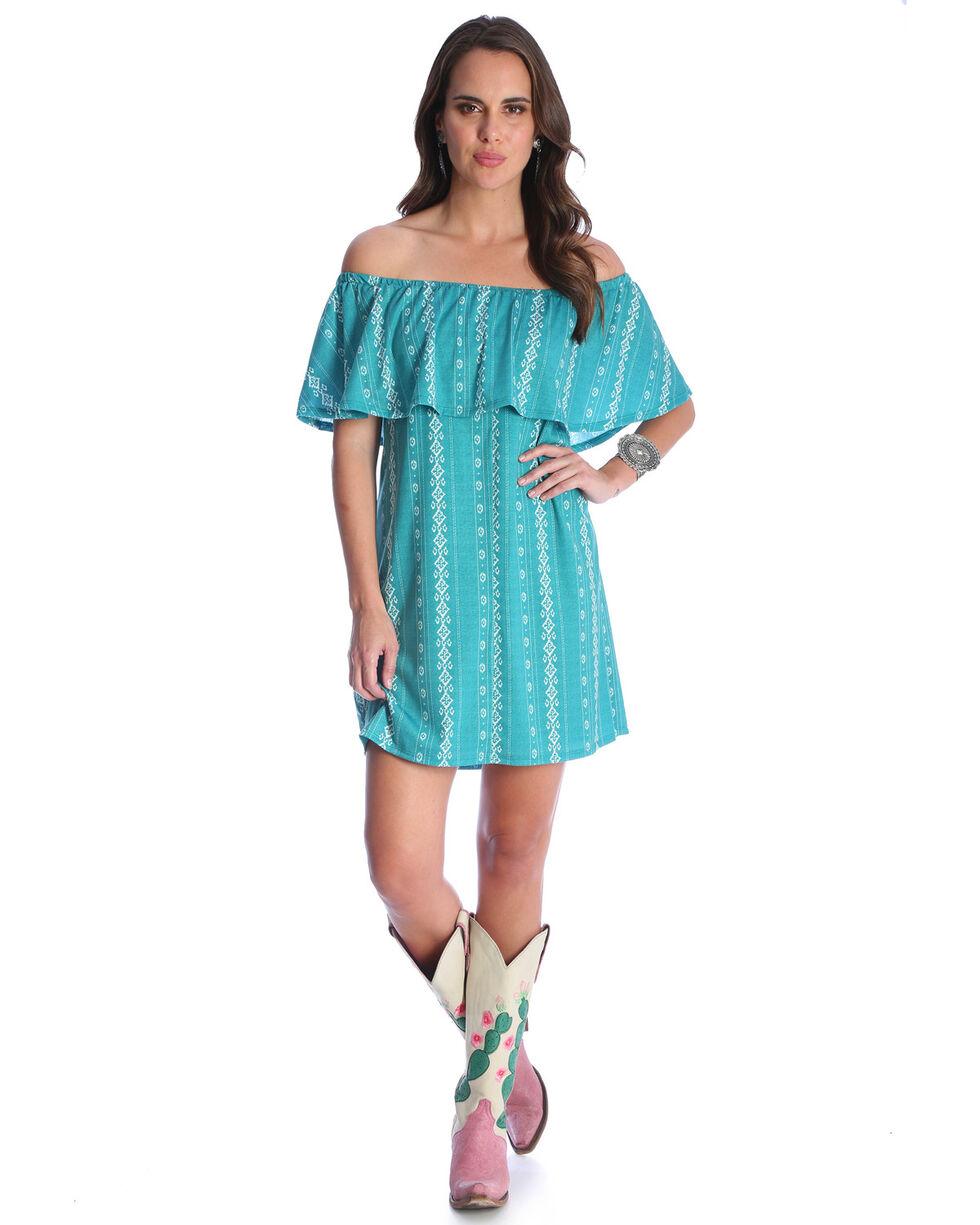 Wrangler Women's Teal Off The Shoulder Ruffle Dress , Teal, hi-res