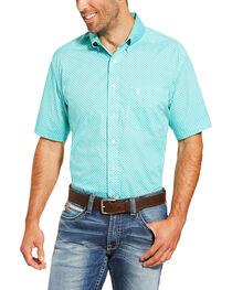 Ariat Men's Turquoise Garry Geo Print Short Sleeve Shirt , , hi-res