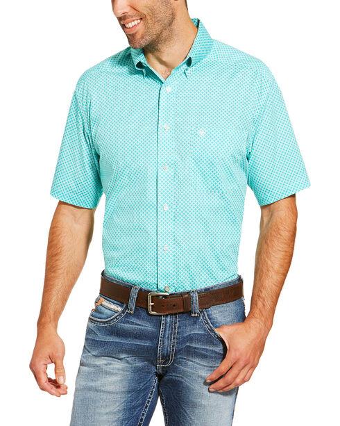 Ariat Men's Turquoise Garry Geo Print Short Sleeve Shirt , Turquoise, hi-res