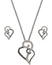 Montana Silversmiths Women's Woven Hearts Jewelry Set, Multi, hi-res
